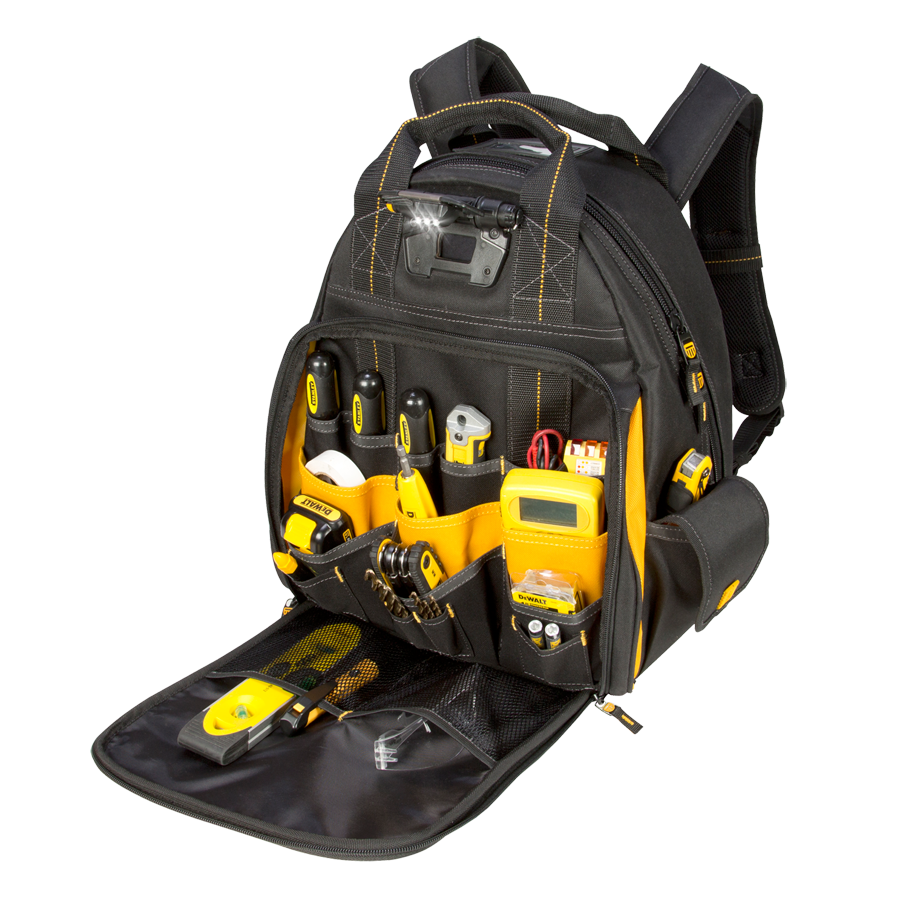 57 Pocket Lighted Tool Backpack Bag Dewaltworkgear Com