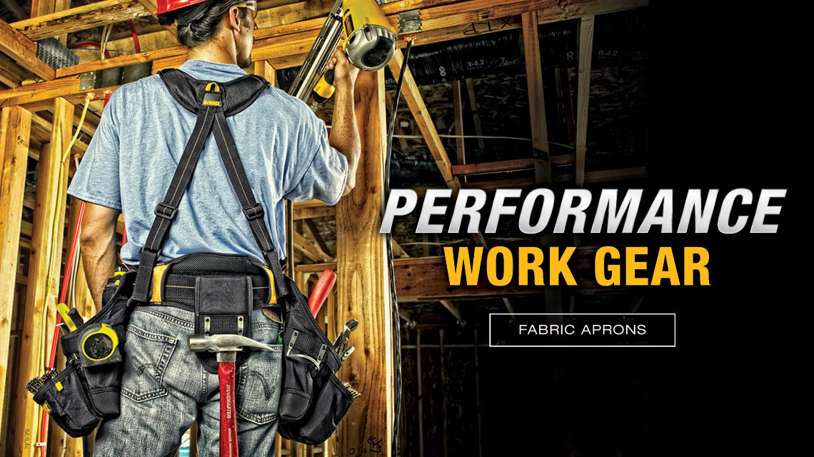 "Carpenter using Fabric Aprons. ""Performance Work Gear"""
