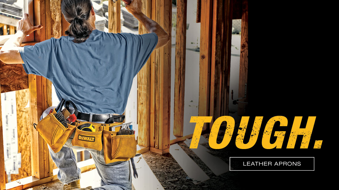"Carpenter using leather apron. ""Tough"""